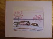 tableau paysages aquarelle original hiver paysage : Alain Polanski   N° 24