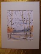 tableau paysages aquarelle original hiver paysage : Alain Polanski   N° 25