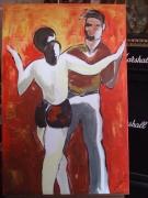 tableau personnages acrylique original paire danse : ALAIN POLANSKI   N° 2