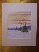 tableau paysages aquarelle original hiver paysage : Alain Polanski   N° 32