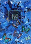 tableau animaux bleu papillon pouring : Effet papillon