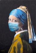 tableau personnages jeune fille perle bleu : Jeune fille au masque
