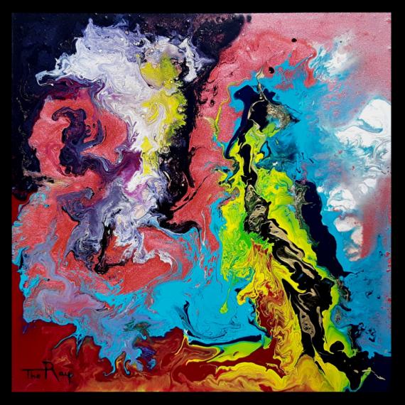 TABLEAU PEINTURE noir jaune bleu rose Abstrait Peinture a l'huile  - Gymnopédies
