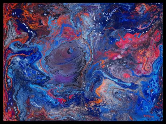 TABLEAU PEINTURE bleu rose violet Abstrait Acrylique  - Vortex