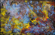 tableau abstrait bleu jaune rouge bulle : Mix Média 42