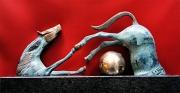 sculpture animaux laiton marbre cheval dore : Equestre