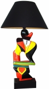 artisanat dart personnages sculpture polychrome homme lampe : Homme