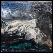 tableau abstrait vert noir blanc bleu : La vague