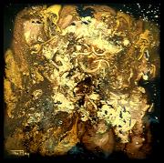 mixte abstrait or noir carre : Or