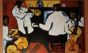 tableau scene de genre musique jazz soir : Jazz Band