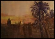 tableau paysages sud desert soir : Taroudant le soir .Maroc