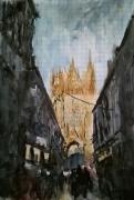 tableau architecture rue ombre lavis : Vue sur la Cathédrale de Metz.
