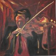 tableau scene de genre seul calme douceur jazz : Le Violoniste