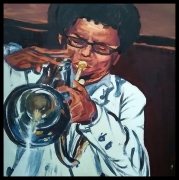 tableau personnages jazz cuivre son : Le Trompettiste