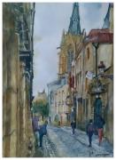 tableau villes ruelle lorraine pierre : Rue à Metz.