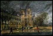 tableau architecture flaner nuit spirit dame : Notre Dame de Paris.