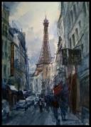 tableau villes charme sublime ruelle paris : Vue sur la Tour Eiffel