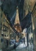 tableau architecture balade bar rue chapeau : Vue sur la tour Eiffel le soir