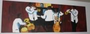 tableau scene de genre jazz cuivre ambiance tamtam : Jazz Band