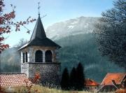 tableau paysages clocher montagne toit foret : BELLECOMBE