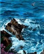 tableau marine bretagne vague rocher mer : BRETAGNE-POINTE du RAZ