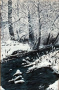 tableau paysages eau riviere hiver neige : RIVIERE ENNEIGEE
