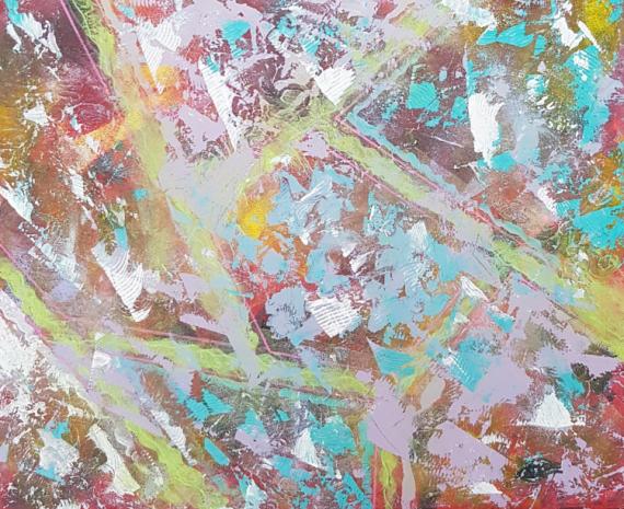 TABLEAU PEINTURE ABSTRAIT Abstrait Acrylique  - BLEU PAPILLON