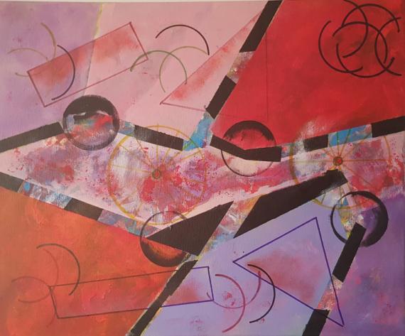 TABLEAU PEINTURE GEOMETRIQUE ABSTRAIT Abstrait Acrylique  - METAL 3