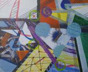 tableau abstrait geometrique abstrait : SYSTEME EAU
