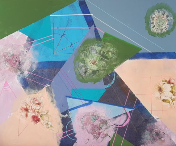 TABLEAU PEINTURE ABSTRAIT COLLAGE Abstrait Acrylique  - LE TEMPS DES FLEURS