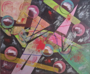 tableau abstrait geometrique : METAL 2