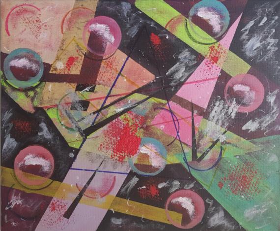 TABLEAU PEINTURE GEOMETRIQUE Abstrait Acrylique  - METAL 2