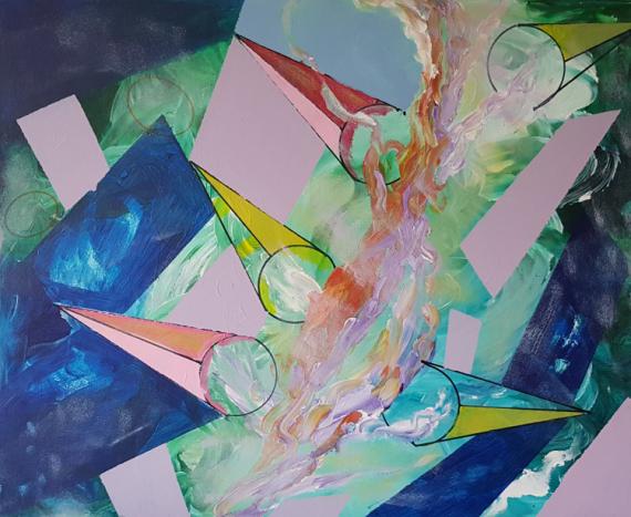 TABLEAU PEINTURE ART GEOMETRIQUE Abstrait Acrylique  - IMPARFAIT ELECTIQUE