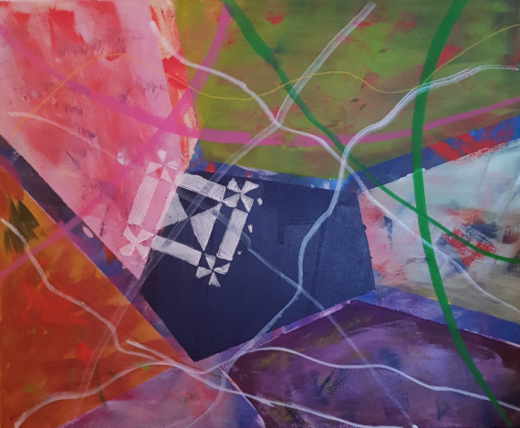 TABLEAU PEINTURE GEOMETRIQUE ABSTRAIT Abstrait Acrylique  - METAL 9