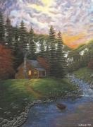 tableau paysages chalet montagne cascade riviere : Le chalet montagnard