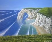 tableau marine mer ocean cote vagues : La côte d'Etretat