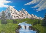 tableau paysages montagne cascade neige paysage : La fonte des neiges
