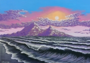 tableau marine mer montagne vagues paysage : Idylle