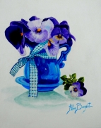 tableau fleurs pensees fleurs printemps vase : BOUQUET DE PENSEES