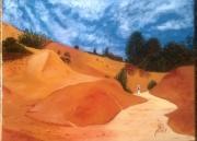 tableau paysages provence rustrel vaucluse ocre : PROMENADE AU COLORADO DE RUSTREL