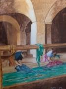 tableau personnages lavandieres lavoir : AU LAVOIR