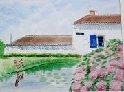 tableau architecture vendee maison longere hortensias : MOULIN DE LA GAILLARDIERE