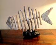 sculpture marine poisson arrete mer bateau : ARRETE SOCLE CHAINE OXYDEE
