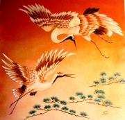 tableau animaux grues estampe japonaise oiseaux : VOL DE GRUES
