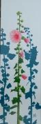 tableau fleurs fleur rose tremiere noirmoutier : LA GRANDE ROSE TRÉMIÈRE