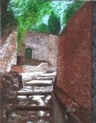 tableau architecture provence vaison la romaine vaucluse ruelle : VERS LE CHATEAU À VAISON