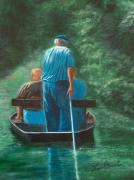tableau paysages marais poitevin barque promenade : PROMENADE EN VENISE VERTE