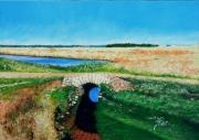 tableau paysages noirmoutier marais salant l herbaudiere : PETIT PONT DANS LE MARAIS DE L'HERBAUDIÈRE