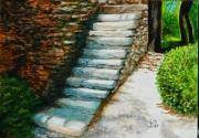 tableau architecture provence lioux vaucluse escalier : ESCALIER DE LIOUX