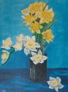 tableau fleurs narcisses vase fleurs printemps : NARCISSES